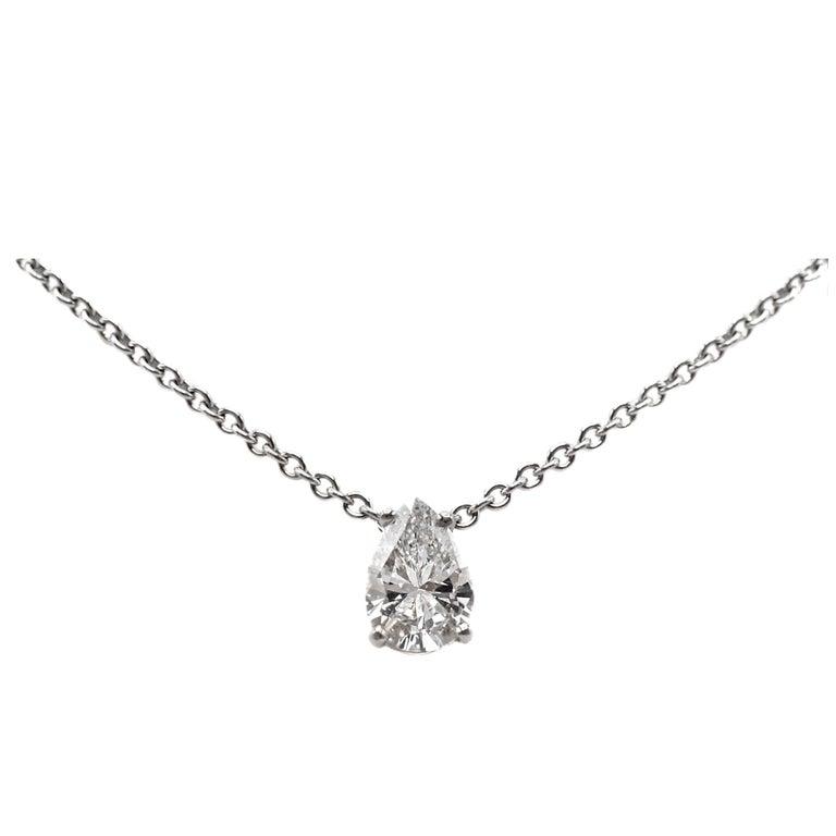 Pear Shape Diamond 1.03 Carat GIA Certified Gold Pedant Necklace