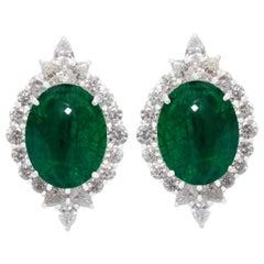 Emerald and Diamond Earrings in 18 Karat White Gold
