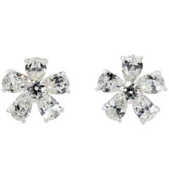 Pear Cut White Diamond Earrings in 18 Karat White Gold