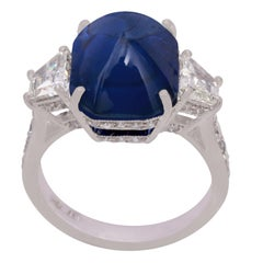 Blue Sapphire and Diamond Ring in 18 Karat White Gold
