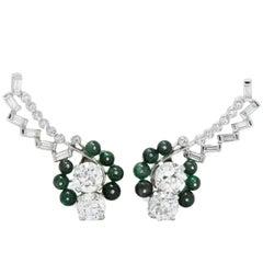 Pair of Retro 3.95 Carat Diamond, Emerald Platinum Earclips Earrings
