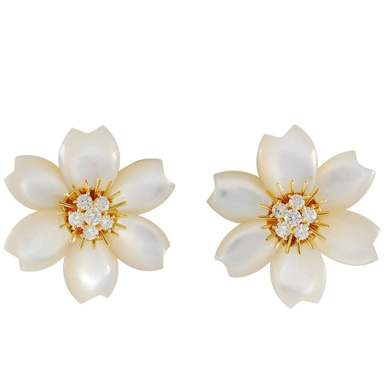 Van Cleef & Arpels Diamond Rose de Noel Ear Clips