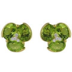 15 Carat Peridot Diamond Flower Earrings