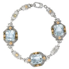 Art Deco 13.00 Carat Aquamarine 14 Karat Tri-Color Bracelet