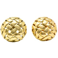 Pair of Tiffany & Co. 18K Yellow Gold Woven Button Ear-Clips Earrings, 1995