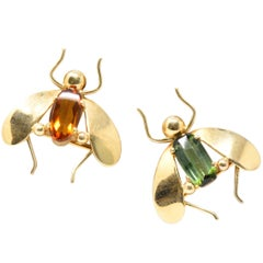 Pair of Retro Tiffany & Co. Citrine, Tourmaline and 14 Karat Gold Bug Brooches