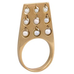1960s Bent Exner Kinetic Pearl and Gold Ring