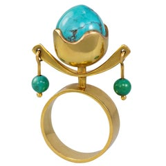 1960s Bent Exner Turquoise and Gold Kinetic TOTEM Ring