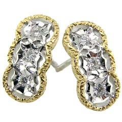 Diamond and 18kt Hand-Engraved Stud Earrings, Handmade in Italy