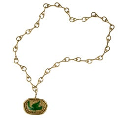 1962 Georges Braque Enamel and Gold Procris Brooch/Pendant and Merope Chain