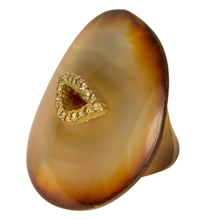 1990s Unique Andrew Grima Carved Agate, Diamond, & Gold Ring