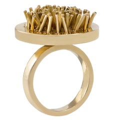 1968 Pol Bury Kinetic Gold Stick Ring