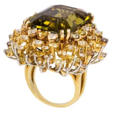 Green Tourmaline, Colored Diamond, Platinum and Gold Cocktail Ring