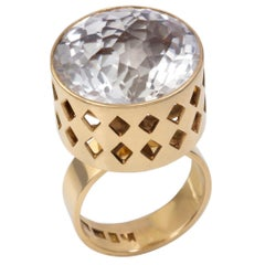 1963 Rare Sigurd Persson Quartz and Gold Cut-Out Ring