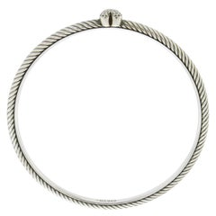 David Yurman Diamond Confetti Quatrefoil 925 Silver Bangle Bracelet