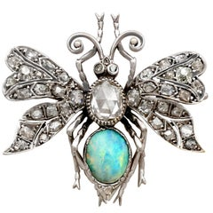 Antique 2.53 Carat Diamond and Opal Insect Brooch