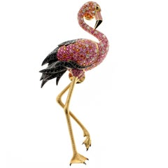 18 Karat Yellow Gold Pink Sapphire Diamond Flamingo Brooch