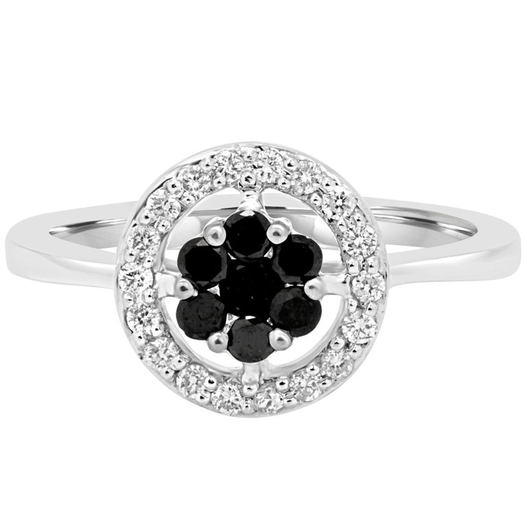Black Diamond and White Diamond Halo Gold Fashion Ring