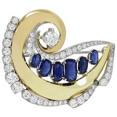 Stunning Art Deco G/VS Diamond Sapphire Platinum Circle Pendant