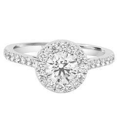 GIA Certified 0.90 Carat Round White Diamond Halo Gold Engagement Ring