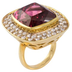 Pink Tourmaline, Diamond and Gold Cocktail Ring