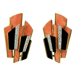 1975 Kutchinsky, Coral, Diamond, Onyx and Gold Earclips
