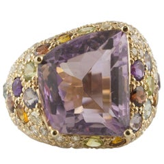 Diamonds Amethyst Yellow and Blue Topaz Peridot Iolite Garnet Rose Gold Ring