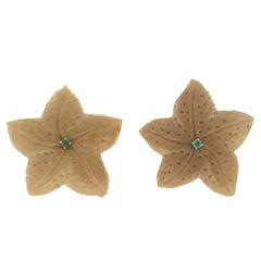 Bone Marine Stars 18 Carat Yellow Gold Clip-On Earrings