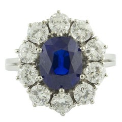 Gubelin Certified 2.91 Carat No Heat  Kashmir Blue Sapphire Diamond Gold Ring