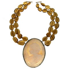 Cameo in Silver Citrine Beans Pendant Necklace