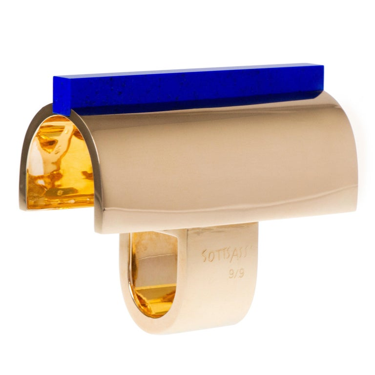 "2002 Limited Edition Ettore Sottsass for Cleto Munari Lapis and Gold ""Ring Mane"" For Sale"