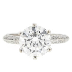Six Prong Diamond Encrusted Pave Engagement Ring 'GIA'