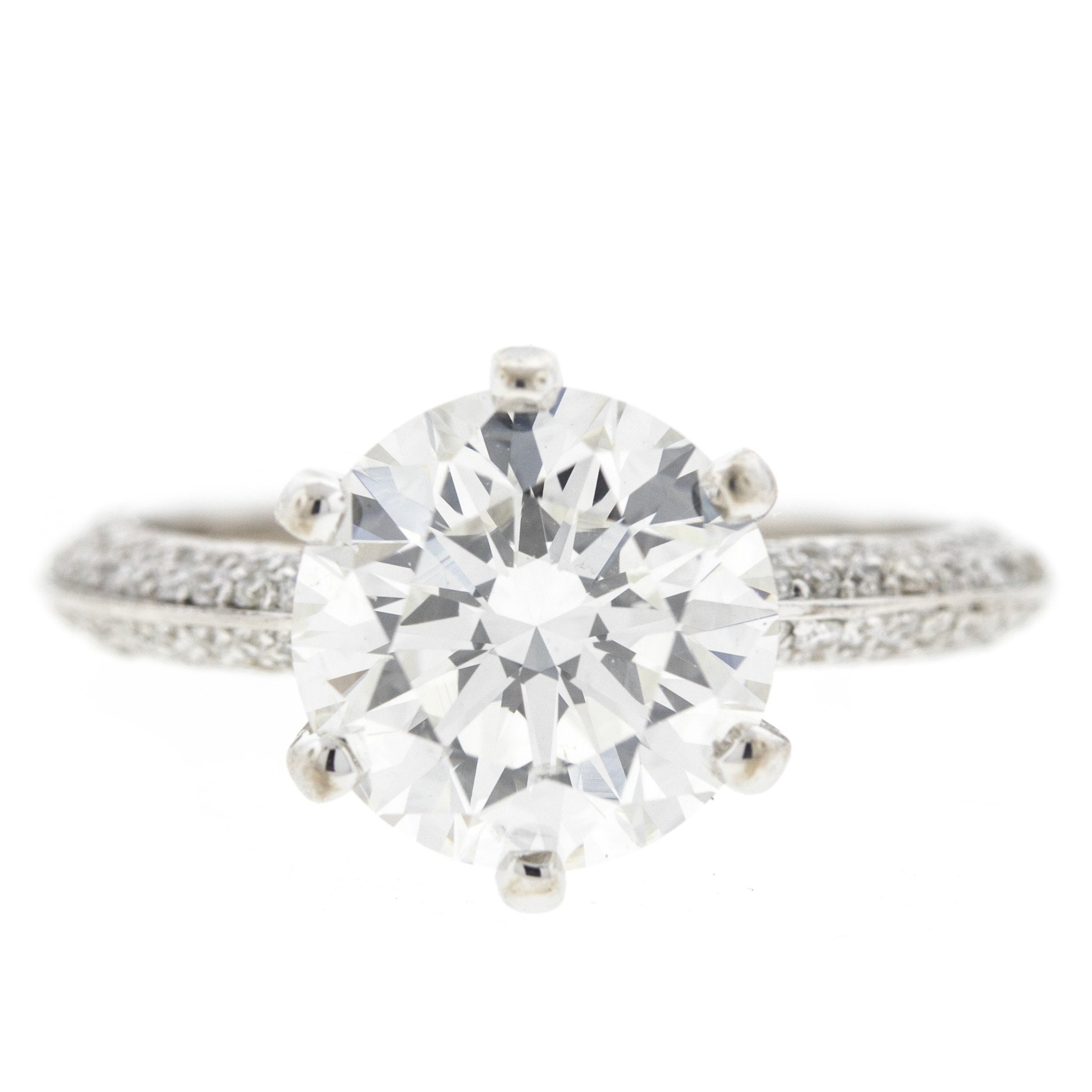 2.51 Carat Six Prong Diamond Encrusted Pave Engagement Ring 'GIA'