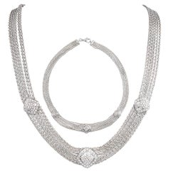 White Gold and Diamond Mesh Bracelet and Necklace Suite