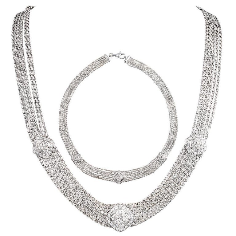 White Gold and Diamond Mesh Bracelet and Necklace Suite For Sale