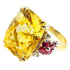 Natural 16.68 Carat AGL Certified Yellow Sapphire Ruby Gold Platinum Ring