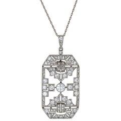 Antique Deco Diamond Platinum Pendant Necklace