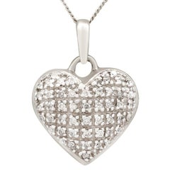 1960s Diamond and White Gold Heart Pendant