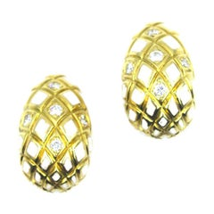 David Webb White Enamel Diamond Clip-On Earrings