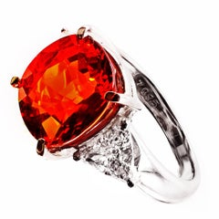Rare Gem Quality Spessartite Platinum Diamond Ring