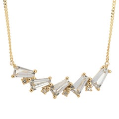 9 Carat Yellow Gold Colorless Topaz Necklace