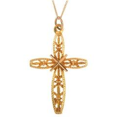 Vintage 1970s 9 Carat Yellow Gold Cross Pendant