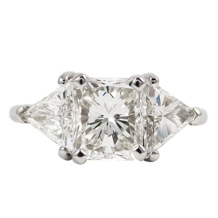 1.57 Carat Radiant Cut Diamond Three-Stone Platinum Ring