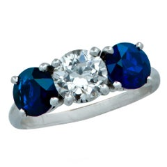 Art Deco Cartier Old European Diamond and Sapphire Three-Stone Ring