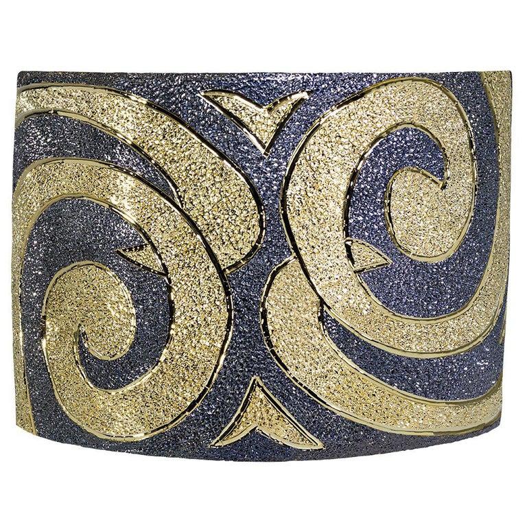 Alex Soldier Sterling Silver Gold Platinum Textured Cuff Bracelet