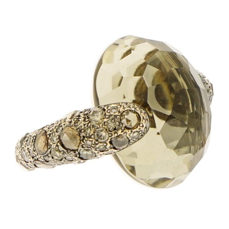 """Sabbia"" Smoky Topaz and Champagne Diamond Rose Gold Pomellato Ring"