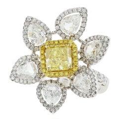18 Karat Yellow and White Gold Flower Motif Fancy Intense Yellow Diamond Ring
