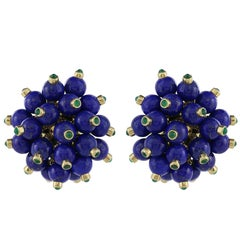 18 Karat Yellow Gold Lapis and Emerald Ear Clips