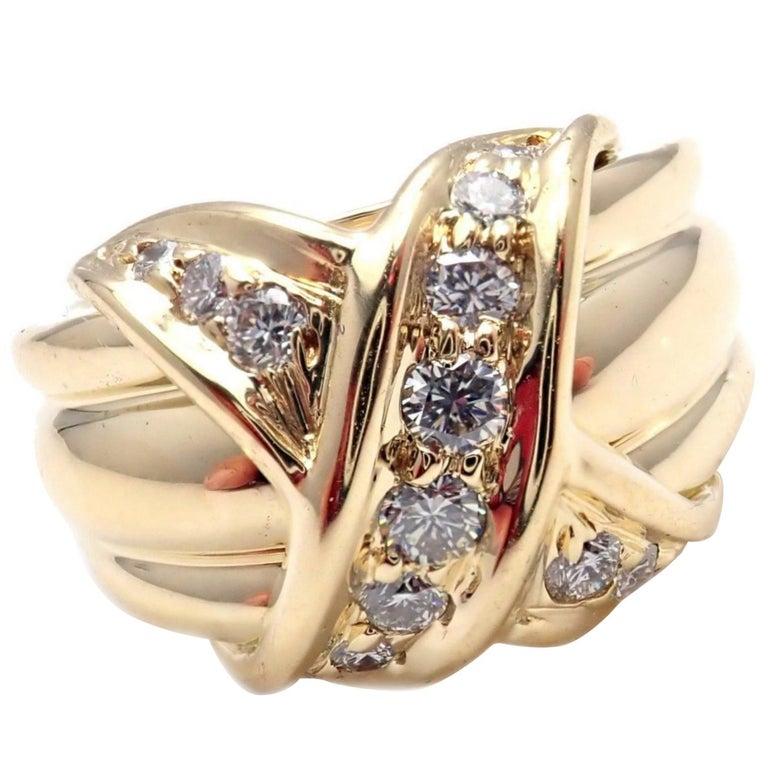 Tiffany & Co. Diamond Signature X Yellow Gold Band Ring