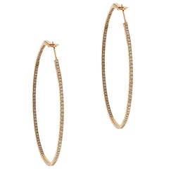 Rose Gold In-Out Diamond Hoops
